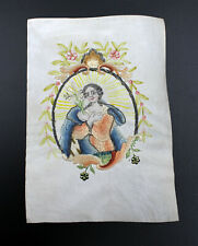Andachsbild Saint Gouache with Silk Embroidery um 1800 Hand Painted