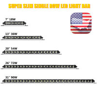 "7"" 13"" Flood Spot Offroad LED Work Light Bar Slim Fog ATV 4WD Truck SUV Lamp US"
