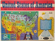 Whitman United States map jigsaw puzzle Vintage 1965 100 pieces COMPLETE