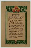 Antique~Arts & Crafts ~Birthday Postcard~Poem~Floral Art Deco Border-Volland-a67