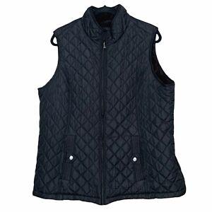 Weatherproof Women's Black Quilted Vest Brown Faux Fur Lining Plus Size 2X