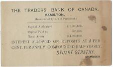 CANADA Ontario Hamilton Traders Bank of Hamilton 1892 Postal Stationery Inv 15