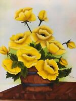Vintage Folk Art Original Signed Canvas Yellow Poppies & Wood Bucket Framed MCM