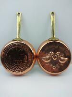 Lot of 2 Copper Base Wall Hung Saute Pans VINTAGE Kitchen Wear Decor Decorative