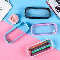 Clear Pencil Case Transparent Pen Bag Makeup Pouch PVC Zip Travel Toiletry Bag
