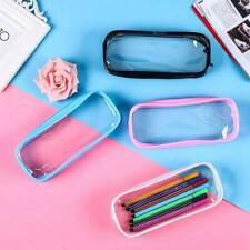 Clear Pencil Case Transparent Pen Bag PVC Makeup Pouch Zip Travel body HiOlX
