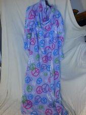 Snuggie Purple Peace Love Blanket Throw Fleece with Pocket Rare