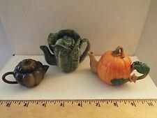 3 NEW-lot-vintage miniature teapots-RARE-lettuce-pumpkin-acorn squash-mini