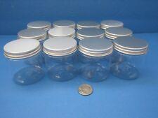 8 oz 12 pack PET Clear Plastic Jars Silver Caps Lids Cream Crafts BPA Free
