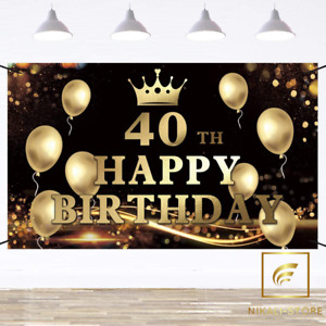 Happy 40th Birthday Banner Birthday Party Sign Backdrop Banner For Men Women