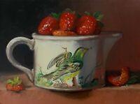"""Strawberries in BoB"" NOAH VERRIER Still life oil painting, Signed art print"