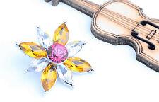 nice rainbow rhinestone flower chunk snap button fit 18mm bracelet j3312