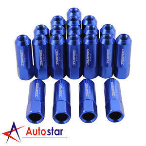 OPEN END EXTENDED ALUMINUM TUNER RACING WHEEL LUG NUTS BLUE 20 PCS M12X1.5MM