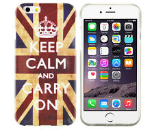 Schutzhülle f iPhone 6 6S Case Cover Etui Bumper Gel TPU Keep Calm Carry On UK