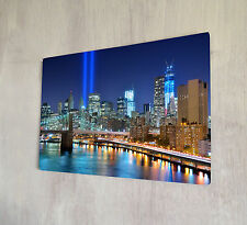 New York Skyline por la noche Ground Zero Placa De Metal Shabby Chic Retro Signo