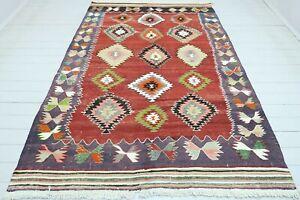 "Turkish Oushk Kilim, Living Area Rug, Carpet, Dining Room Rugs, Teppich 71""x104"""