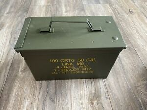 Brand New Metal Ammo Box/tin 50 Cal  Green Waterproof Approx30/15.5/18.5cm
