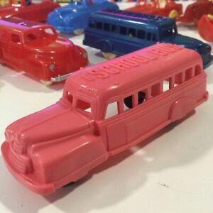 "VINTAGE 1950's RENWAL #123 PINK BONNET SCHOOL BUS 4.5"" HARD PLASTIC 1:50 USA"