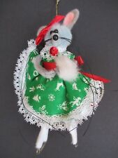 New listing Vintage Christmas Ornament Mouse On Skates Green Dress Glass Bead Pipe Cleaner