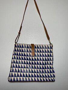 STELLA & DOT Crosby Hobo GEO TILE Shoulder Blue & White Messenger Bag