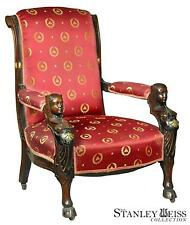 SWC A Carved Mahogany Egyptian Revival Armchair