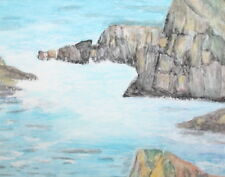 Watercolor drawing seascape rocks