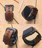 für Apple Watch Serie 1 2 3 4 42/44mm Schwarz Fix Braun Lederuhrarmband Band