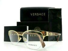 Versace Gold Metal Semi Rimless Women Rx. Glasses New w/Box VE1255-B 1002 52mm