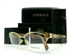 Versace Gold Metal Semi Rimless Women Rx. Glasses New w/Box VE1255-B 1002 52mm
