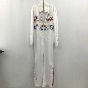 Smiffys Elvis Presley Fancy Dress Costume Size M Mens White Gem Jumpsuit 184391