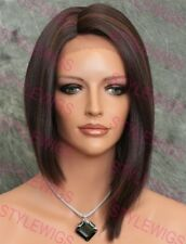 Dark Brown / Auburn Short Angled Bob Heat OK Synthetic Lace Front Wig SAVA 4/30