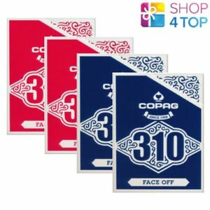 4 DECKS COPAG 310 FACE OFF POKER PLAYING CARDS PAPER STANDARD INDEX BLUE RED NEW