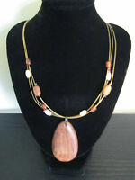 NEW WOODEN TEARDROP BEADED NECKLACE. TRIPLE STRAND. ADJUSTABLE LENGTH. LAST FEW