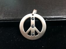 PEACE SIGN Titanium Pendent w/Negative Ion Granule