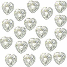 40 SELF ADHESIVE HEARTS CLEAR ACRYLIC DIAMANTE RHINESTONES .APP12 X 12MM