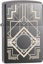 Zippo 28950 Art Deco Laser Engraved Black Ice 2015/2016 Choice Catalog Lighter