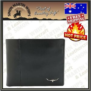 RM Williams Wallet With Coin Pocket Leather - Black - NEW - RRP $149.99