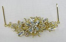 Fancy Gold Floral Clear Rhinestone Crystal Hair Comb Bobby Pins Wedding Bridal