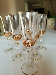 6 flutes Champagne cristal de Lorraine or 24 carats avec coffret