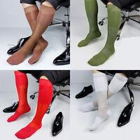 lieomo Men's Casual Nylon Socks Sheer Soft Velvet Silky Thin Dress Socks