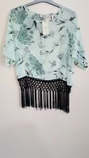 Papaya weekend Green Floral Blouse Top Sheer Tassles Summer Ladies Boho Kimono 8