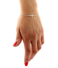 Sterling silver Sideways Cross Bracelet Solid Cross Sideway Chain bracelet B2