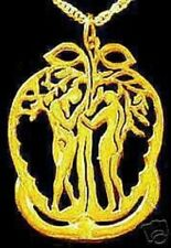 LOOK Adam & Eve pendant charm Apple Gold Plated silver .925