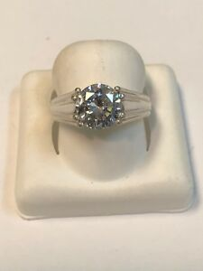 Beautiful Sterling Silver 925 DQ Cubic Zirconium Solitaire Ring Sz 6