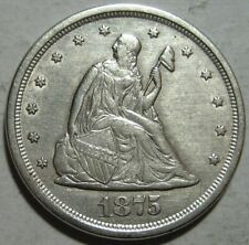 = 1875-S AU+ TWENTY Cent PIECE, Nice EYE Appeal, FREE SHIPPING