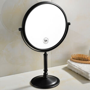 Black Brass Makeup Mirror Dual Sides 360 Rotation Bathroom Mirror 3x Magnifying