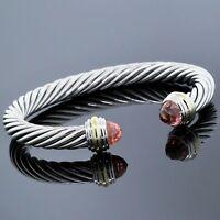 David Yurman 7mm Bracelet 925 Silver 18K Gold Morganite Cable Classics Cuff