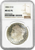 :1884-O SILVER MORGAN DOLLAR PROOF-LIKE NGC NEAR-CHOICE MS-62-PL HIGHEST-GRADES