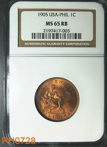 PHILIPPINES Centavo 1905 NGC MS-65 RED BROWN Free Shipping In United States