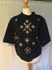 H&M Size Small Navy Blue Jumper Top Gems Sequins Short Sleeve 8 10